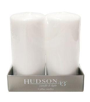 """Hudson 43™ Candle & Light Collection 2pc 3""""X6"""" Unscented Pillar Candles-White"""