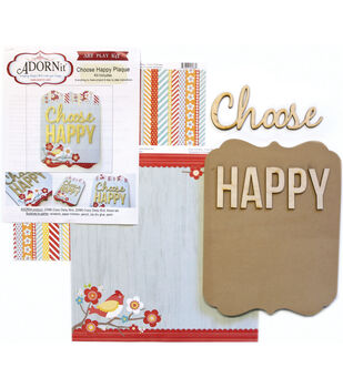 Adorn-It Art Play Choose Happy MDF Word Plaque With Words Kit