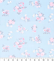 Made in America Cotton Fabric-Shabby Chic Spaced Floral Blue, , hi-res