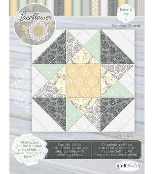 Quilt Block of the Month Cotton Fabric-Laceflower Block 7