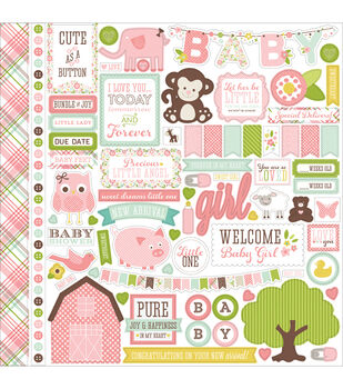 Echo Park Paper Company Bundle Of Joy Baby Girl, Element Stickers