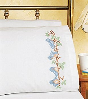 Birds On A Branch Pillowcase Pair Stamped Cross Stitch