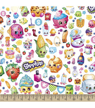 Shopkins Cotton Fabric-Party Cartoon