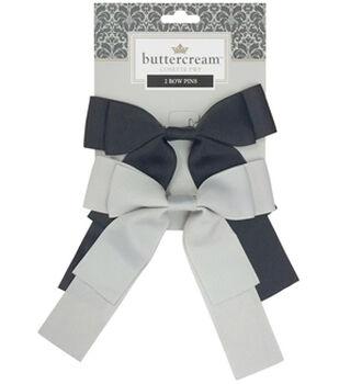 Buttercream Bow Pin-Black/Light Grey
