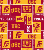 University of Southern California NCAA Block Fleece Fabric, , hi-res