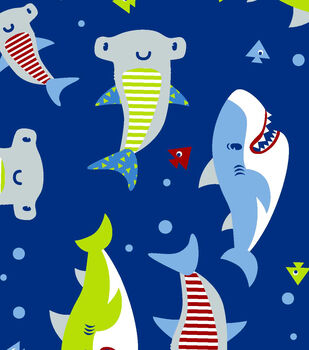 Snuggle Flannel Fabric 42''-Shark Time