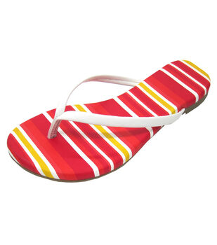 Escape to Paradise Women's Flip Flops-Striped Red