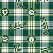 Oakland Athletics MLB Plaid Fleece Fabric, , hi-res