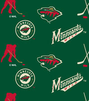 Minnesota Wild  NHL Tossed Print Fleece Fabric, , hi-res