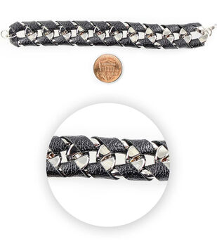 Blue Moon Bead Strands Silver Faux Leather Wrap