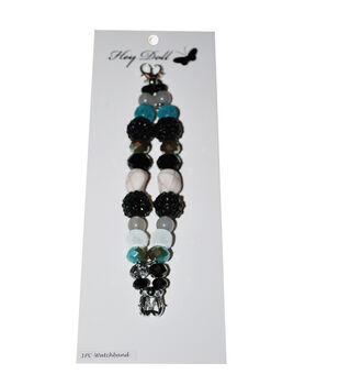 Hey Doll Black Turquoise Embellished Silver Watch Band