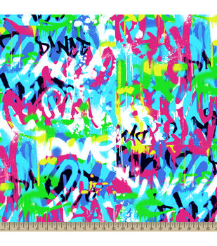 Anti-Pill Fleece Fabric-Graffiti