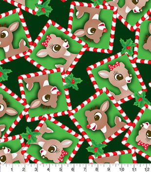 Holiday Inspirations Fabric- Christmas Rudolph & Clarice Fleece