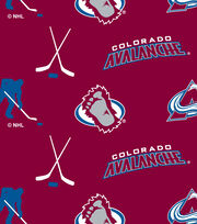 Colorado Avalanche NHL Tossed Print Fleece Fabric, , hi-res