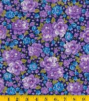 Premium Cotton Fabric-Mia Main Floral Purple, , hi-res
