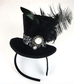 Maker's Halloween Steampunk Velvet Top Hat Fascinator-Black & Silver
