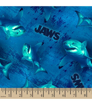Jaws Cotton Fabric-Swimming Sharks