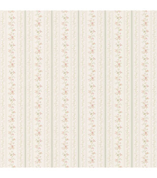 Marta Green   Dainty Floral Stripe Wallpaper Sample