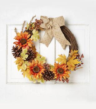 Blooming Autumn 24'' Sunflower, Pinecone, Vine & Maple Twig Wreath