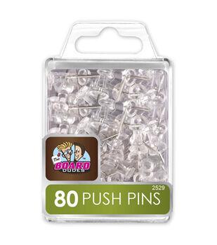 80pk Clear Push Pins