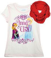 Disney Frozen Anna & Elsa Shirt with Scarf, , hi-res