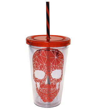 Skull Cup 16 oz Metallic Red