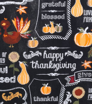 Harvest Cotton Fabric-Give Thanks Chalkboard