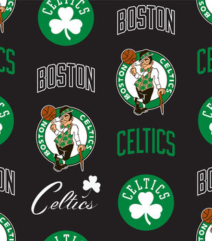 Boston Celtics NBA Tossed Print Fleece Fabric