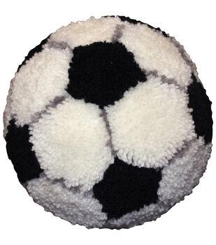 M C G Textiles Pillow Latch Hook Kit Huggables Soccer Ball