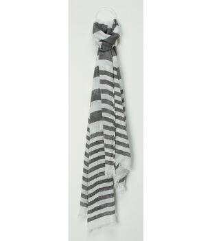 Oxford Street Jewelry Co. Gray & White Striped Scarf