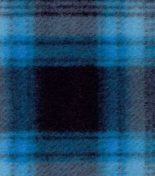Blizzard Fleece Fabric- Blue Black Plaid
