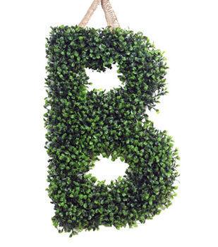 "18"" Monogram Green Boxwood Shaped Wall Decor"