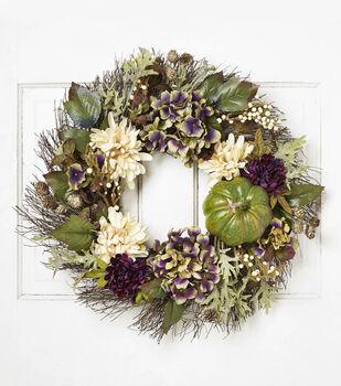 Blooming Autumn 22'' Mum, Hydrangea & Wreath-Beige, Purple & Green