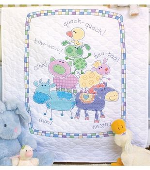 Dimensions Baby Hugs Farm Friends Quilt Stmpd X-Stitch Kit
