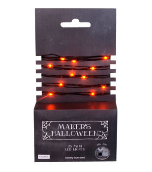 Maker's Halloween 25ct Orange Rice Light Set With Black Wire