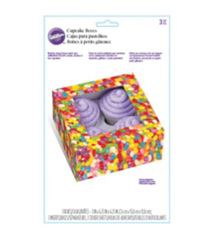 "Cupcake Boxes 3""X6.25""X6.25"" 3/Pkg-Photo Real Jelly Bean 4 Cavity"