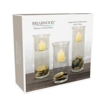 Hudson 43™ Candle&Light Collection 3Pc Glass Hurricanes