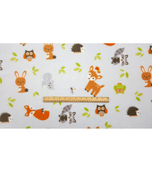 Nursery Fleece Fabric-Woodland Grey Animals
