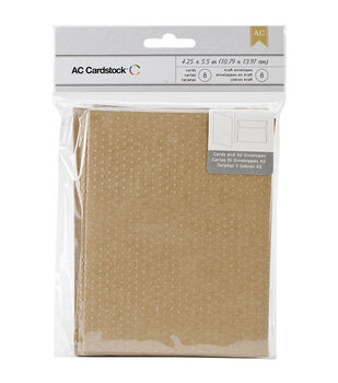 American Crafts A2 Cards & Envelopes Kraft Swiss Dots Embossed Design