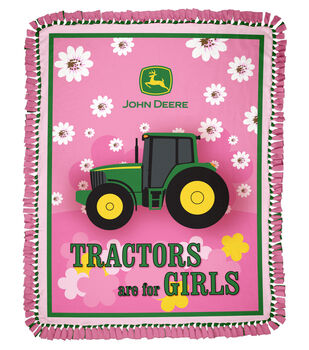 """John Deere Tractors Are For Girls 48"""" No Sew Throw"""