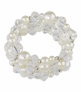 Coil Bracelet Pearl Crystal