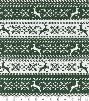 Snuggle Flannel Fabric-Green Nordic Reindeer