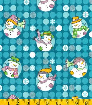 Glitter Flannel Fabric-Snowmen