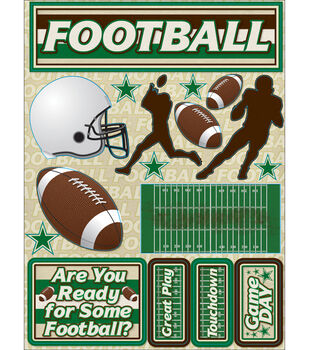 "Signature Dimensional Stickers 4.5""X6"" Sheet-Football"