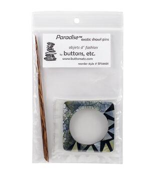 Paradise Exotic Shawl Pin Mixed Shell Square Shawl Pin