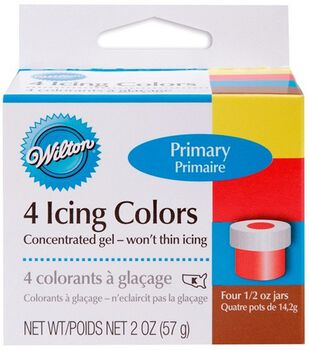 Wilton® Witon Icing Colors 4/Pkg-Lemon Yellow/Sky Blue/Xmas Red/Brown