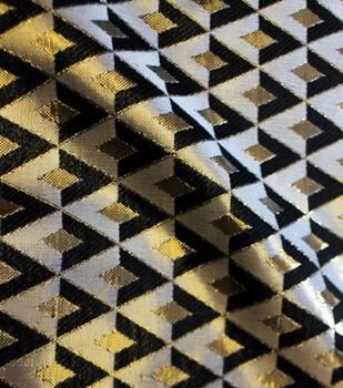 All That Glitters Triangle Jacqaurd Fabric - Blk/Gld