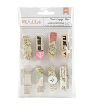 American Crafts™ 8pcs Whittles Clothespins-Maps