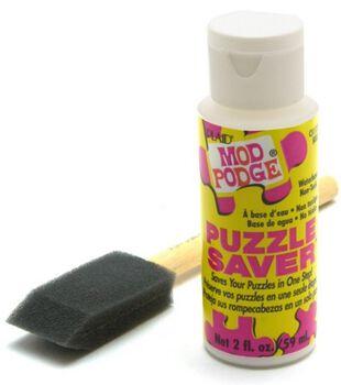 Plaid Mod Podge Puzzle Saver