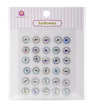 Queen & Co Sunflower Self-Adhesive Crystal Embellishments